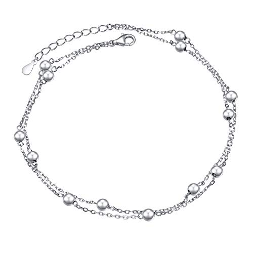 Flyow Anklet for Women S925 Sterling Silver Adjustable Foot Beaded Ankle Bracelet Anklets Jewelry