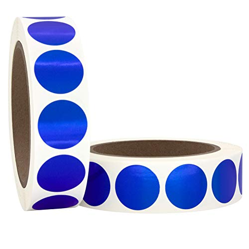 """1"""" Metallic Blue Round Color Coding Circle Dot Labels on a Roll, 2000 Stickers, 1000 Stickers per Roll, 1 inch Diameter."""