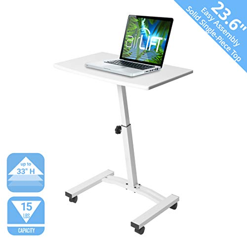 Seville Classics 23.6' Solid-Top Height Adjustable Mobile Laptop Desk Cart (20.5' to 33' H) Ergonomic Table, White