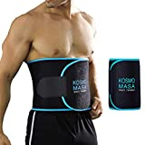 Waist Trimmer for Men,KOSMO MASA Slimmer Sweat Belt for Women,Waist Trainer for Weight Loss,Stomach Wrap Premium Exercise Band Body Cincher Fat Belly Strap,Includes Free Sample of Wristbands - M Blue