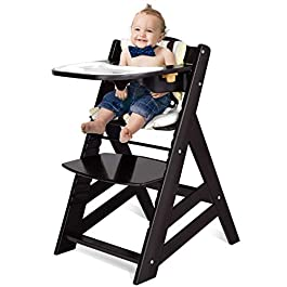 Costzon Wooden High Chair, Baby Dining Chair with Adjustable Height, Removable Tray, 5-Point Safety Harness, Padded Cushion, Perfect Toddlers Feeding Chair