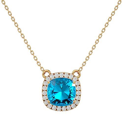 VVS Gems - Collar con colgante de diamante auténtico natural de 3,5 quilates con diamante auténtico natural de 0,23 quilates con certificado VVS
