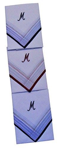 3 Stück Herren-Monogrammtaschentücher | Baumwolle mit farbiger Satinkante | Im Klarsichtkanton | In blau und wein-rot | Freie Monogrammwahl (M)