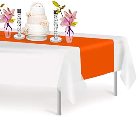 Orange 6 Pack Premium Disposable Plastic Table Runner 14 x 108 Inch Decorative Table Runner product image
