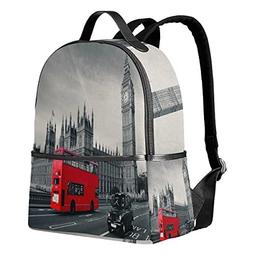 London City Big Ben Red Bus Mochila de poliéster para escuela