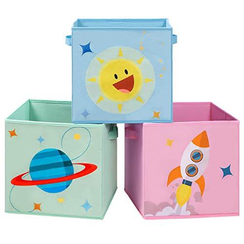 SONGMICS Cajas de Almacenaje, Juego de 3, Organizadores de Juguetes, Cubos Plegables con Asas, para Habitación de Niños, Sala de Juegos, 30 x 30 x 30 cm, Tema del Espacio, Azul, Verde y Rosa RFB001Y03