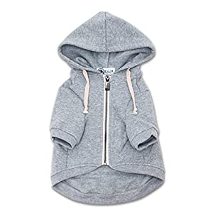 Ellie Dog Wear Zip Up Adventure Light Grey Dog Hoodie with Hook & Loop Pockets and Adjustable Drawstring Hood – Available in Extra Small to Extra Large. Comfortable & Versatile Dog Hoodies (XXS)