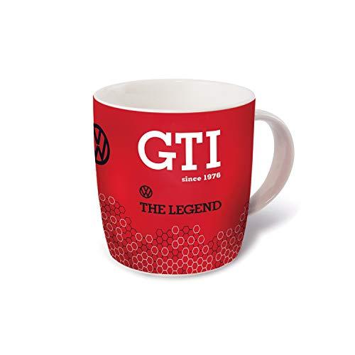 BRISA VW Collection - Volkswagen Golf GTI Kaffee-Tee-Tasse-Becher für Küche, Werkstatt, Büro - Camping-Zubehör/Geschenk-Idee/Souvenir (Motiv: GTI The Legend/370ml/Rot)