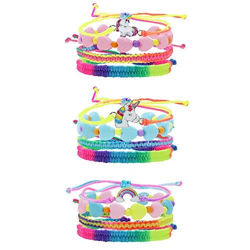 FROG SAC 12 PCS Tie-Dye Unicorn Bracelets for Little Girls, Rainbow Bracelet Set for Kids with Adjustable Braided String Bracelets, Heart Beaded Bracelets, Cute Unicorn Party Favors Goodie Bag Fillers