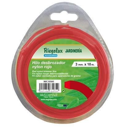Riegolux 107663 Hilo Desbrozadora Nylon Cuadrada, Rojo, 1.6 mm x 25 m