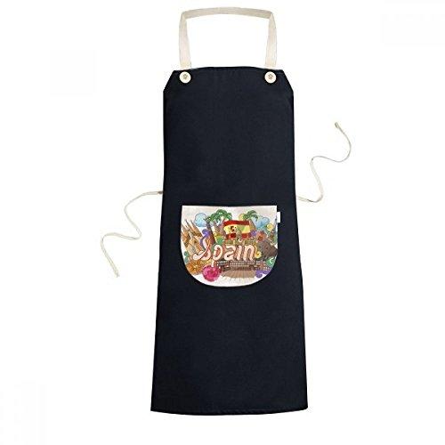 DIYthinker Prado Seafood España Graffiti Delantal babero Sarong para cocinar hornear cocina bolsillo Pinafore