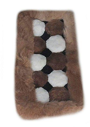 ALP acaandmore Original Peruano Alpaca Alfombra (Piel de salón Alfombra Marrón Blanco Dados Diseño, Blanco, marrón, 60 x 40