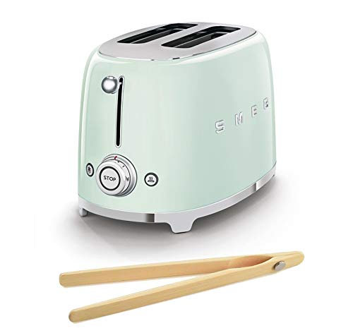 Smeg TSF01PGUS 50's Retro Style Toaster Bundle with Norpro Bamboo Tongs - (Pastel Green) 2 Slice