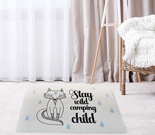 LUUK LIFESTYLE Kinderteppich mit Fuchs, 60x90 cm, Campingbus, VW Bus, Fußmatte, Kinderzimmer, Spielteppich für Kinderzimmer, Babyzimmer, Babygeschenk, Kindergeschenk