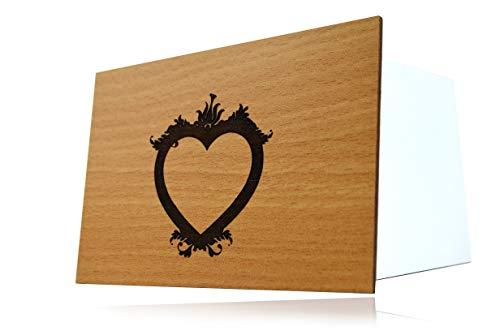 Holzgrußkarten 3D Tiefenrelief Holzkarte Hochzeit Herz - 100% Made in Germany - Postkarte · Karte · Grußkarte · Geschenkkarte · Einladung · Für Geburtstag Glückwünsche und Geschenke