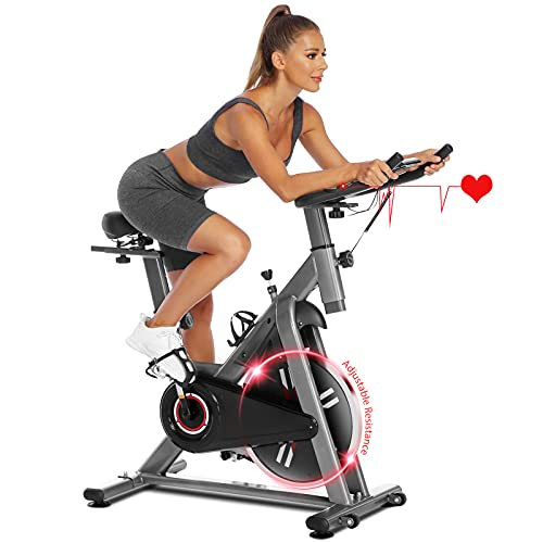 Fynllur Heimtrainer Fahrrad, Indoor Cycling Bike, Fitnessbike, Einstellbarer Widerstand, 12kg Schwungrad Puls mit Herzfrequenzsensor,150 kg Belastbar