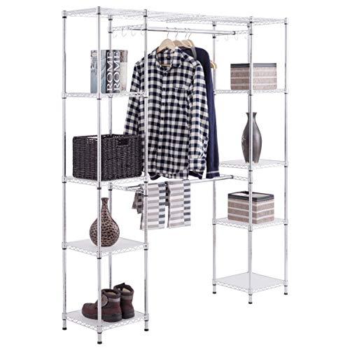 COSTWAY Kleiderständer mit Ablagen, Garderobenständer Metall, Hängeregal Kleider, Wäscheständer ausziehbar, Kleiderschrank mit Kleiderstange, Farbewahl (silbrig)