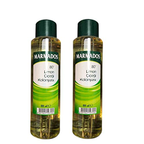 2x 400ml MARMADOS Limon Kolonya 80° | Lemon Eau de Cologne | After Shave | Rasierpflege | Rasierwasser | Duftwasser mit Zitronenduft