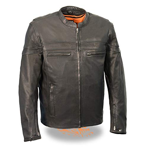 Milwaukee Leather MLM1525 Men's Black 'Sporty' Leather Lightweight Crossover Leather Jacket - Large