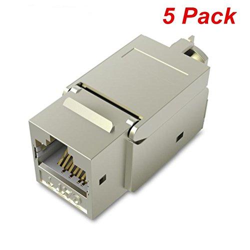 Vention RJ45-Koppler, Cat7, Cat6, Cat5, RJ45, 8P8C-Netzwerk-Keystone-Buchse, Inline-Koppler, Buchse zu Buchse, Metallgehäuse, Hochabschirmungs-Koppler, Ethernet-Kabel-Extender-Adapter 5 pack