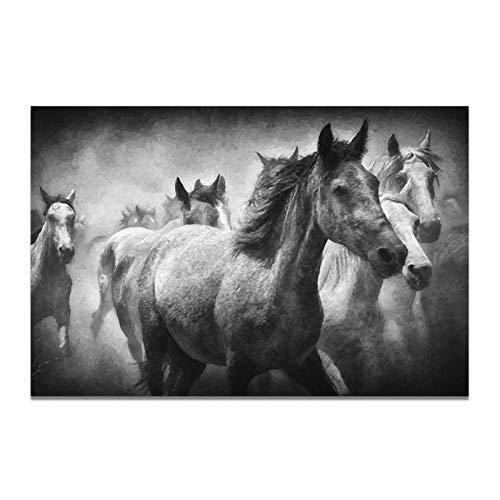 MULMF dier grijs canvas schilderij running horse muurkunst afbeelding druk poster canvas schilderij wandschilderij huis decoratie - 60X80cm No Frame