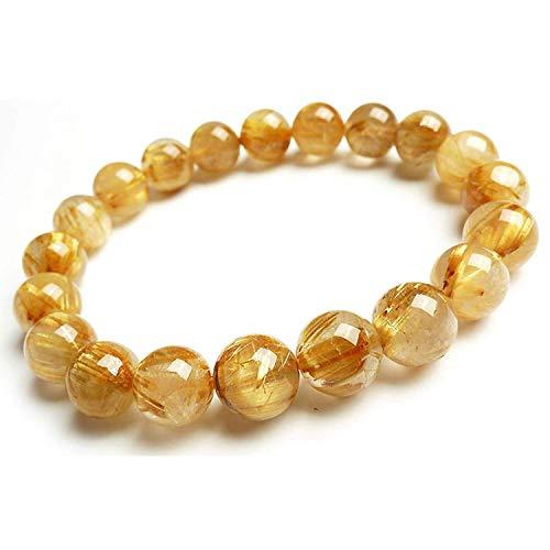 AAAA - Pulsera de cuarzo rutilado de oro natural y titanio de 10 mm con cuentas redondas de cristal y piedras ricas
