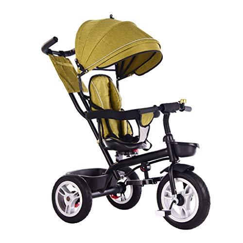 Triciclo Bebe Infantil 4 En 1 Triciclo,1-6 Años Niño Sombrilla Verde Triciclo,Al Aire Libre Rojo Ajustable Triciclo con Asiento Giratorio (Color : Green)