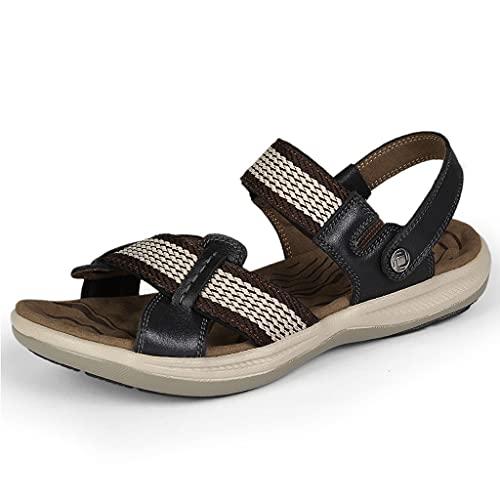 WXYPP Sandalias de Verano Cuero para Hombre Casual Antideslizante Resistente al Desgaste Resistente a la Banda elástica Zapatillas Cómodo (Color : Black, Size : 39)