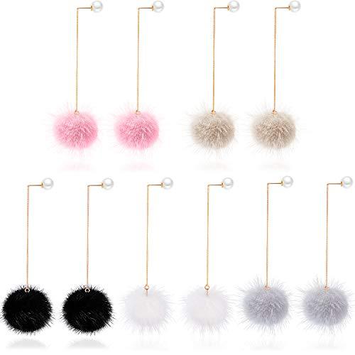 5 Pairs Pom Pom Ball Earrings Faux Fur Round Dangle Earring Fluffy Pom Pom Christmas Earrings for Women