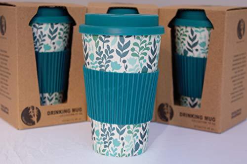 Tesson Vaso café de Bambú con Tapa. Vaso Bambu ecológico con Tapa y Agarre de Silicona. Reutilizable 425ml (Turquesa)