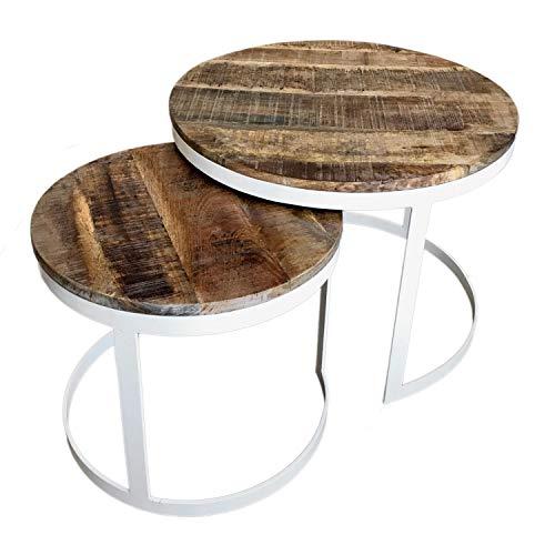 casamia Couchtisch 2er Set Beistelltisch Wohnzimmer-Tisch rund Austin Metall-Gestell Altsilber o. schwarz Farbe reinweiß - Tabacco