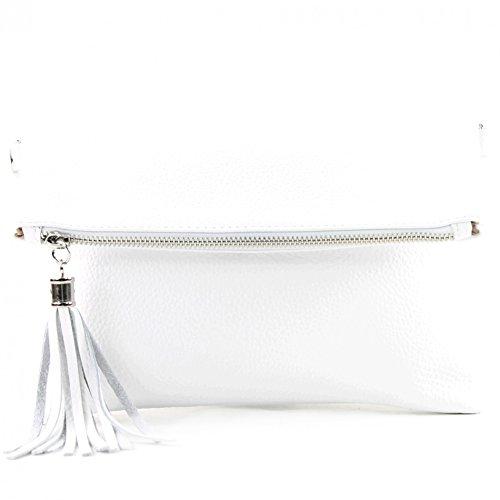 modamoda de - T167 - ital Clutch Umhängetasche Leder Klein, Farbe:Weiß