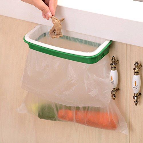 Demarkt Müllsackhalter Küchenschrank Küchenabfallsackhalter aus Kunststoff Lagerung Kleiderstange hängend Papierkorb Taschen 12,5 x 22 cm (Grün)