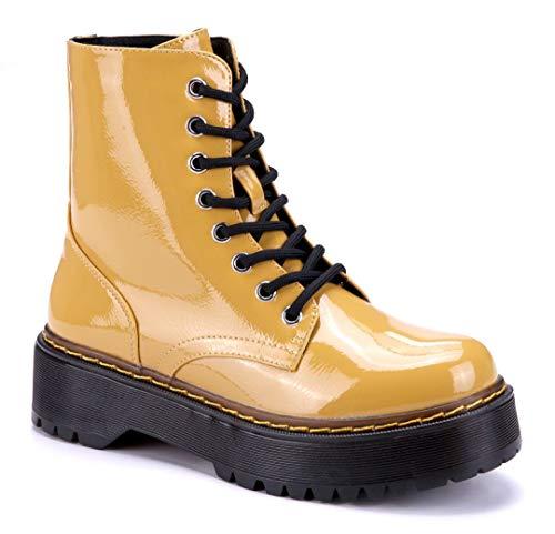 Schuhtempel24 Damen Schuhe Boots Stiefel Stiefeletten gelb Blockabsatz 5 cm