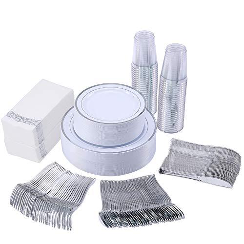 350 Piece Silver Dinnerware Set 50 Guest-100 Silver Rim Plastic Plates-50 Silver Plastic Silverware-50 Silver Plastic Cups-50 Linen Like Silver Paper Napkins,FOCUSLINE Disposable Dinnerware Set