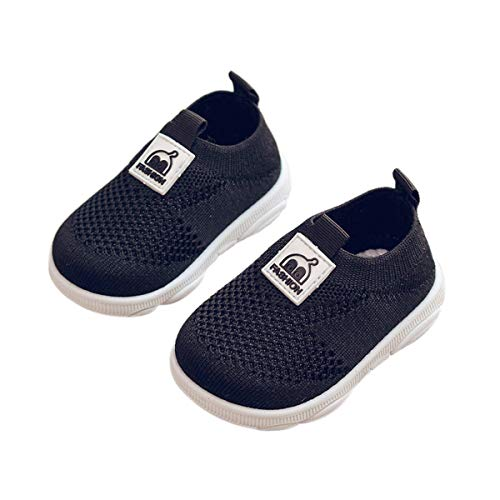 DEBAIJIA Zapatos para Niños 3-18M Bebé Caminan Zapatillas Cordones Transpirables Malla Ligera TPR-Materiale 17/18 EU Negro (Tamaño Etiqueta 16)