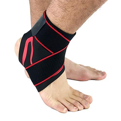 HSJ WDX- Protección de Tobillo Deportes articulación del Tobillo Hombres y de Mujeres Que Pisa Fuerte Correr Fijo Vendaje Protector Protege los Tobillos (Color : Red Left Foot, Size : 22-23cm)