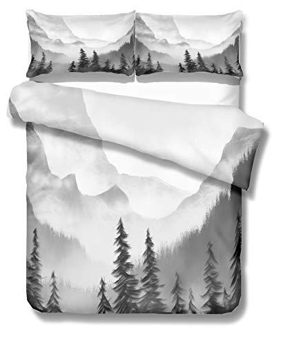 Stillshine Ropa de Cama Natural Paisaje Pintura Montaña Amanecer Art Impresión Funda nórdica y Funda de Almohada (Montaña 2, Funda nórdica 220x240 cm - Cama 150)