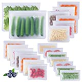 22 Pack Reusable Food Storage Bags - 2 Gallon Freezer Bags + 6 Reusable Snack Bags + 7 Reusable Sandwich Bags + 7 Ziplock Bags,Extra Thick Leakproof Bags For Lunch Travel Make-Up Home Organization