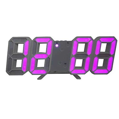 GYCZC Kreative Elektronische Uhr 3D Stereo Wecker Führte Elektronische Digitaluhr Wand Stereo Wanduhr Lila