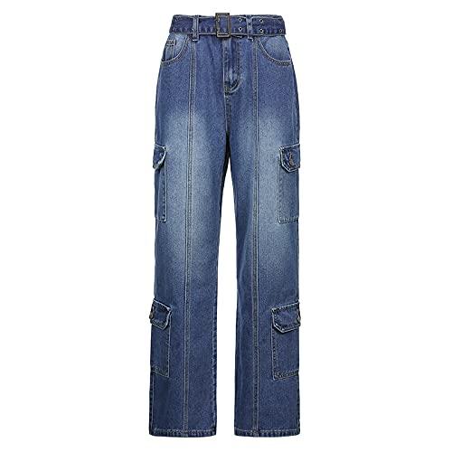 Jeans para Mujer Pantalones Vaqueros Boyfriend de Cintura Alta Empalme de Moda Pantalones Rectos con múltiples Bolsillos Pantalones Sueltos Ocasionales M