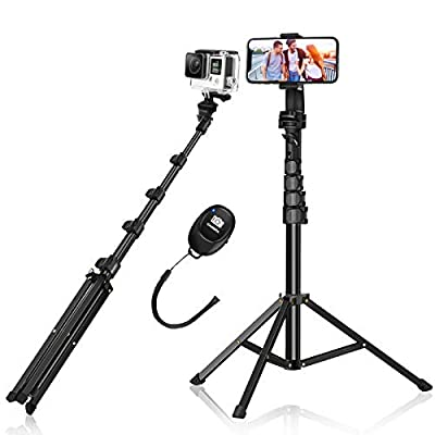 """Selfie Stick Tripod, BlitzWolf 63"""" Aluminum Phone Tripod Stand with Wireless Remote & 360° Rotation Phone Holder, Tripod for iPhone 12 Pro Max/11/XS Max/X/8/7, Galaxy S20, Android, DSLR, Action Camera by BlitzWolf"""
