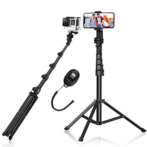 Selfie Stick Stativ, BlitzWolf 160cm ausziehbare Kamera Handy Stativständer Telefonstativ mit Bluetooth Fernbedienung für iPhone Android DSLR Action Kamera für Videoaufzeichnung/Live-Übertragung