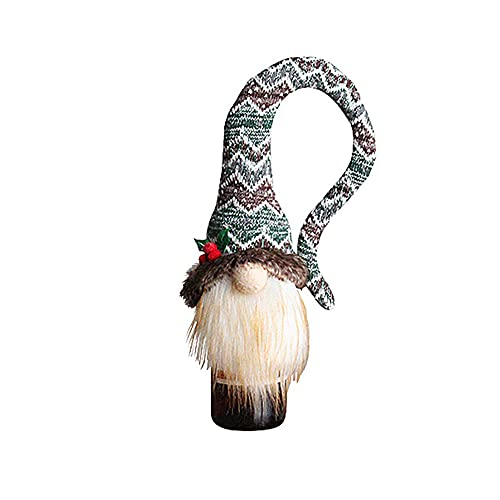 Weituoli Funda para botella de vino de Navidad sin rostro, hecha a mano para botellas de vino de Navidad, mesa, decoración de regalo