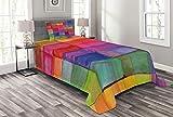 ABAKUHAUS Abstrakt Tagesdecke Set, Regenbogen-Farben-Quadrate, Set mit Kissenbezug Moderne Designs, für Einselbetten 170 x 220 cm, Mehrfarbig