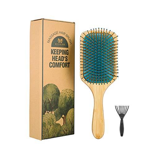 Neverland Platz Haarbürste Holz Antistatische Paddelbürste Haarbürste Bambusgriff Holzborsten Haarbürste für Extensions für Frauen Männer und Kinder Eduzieren Frizz Massage Kopfhaut