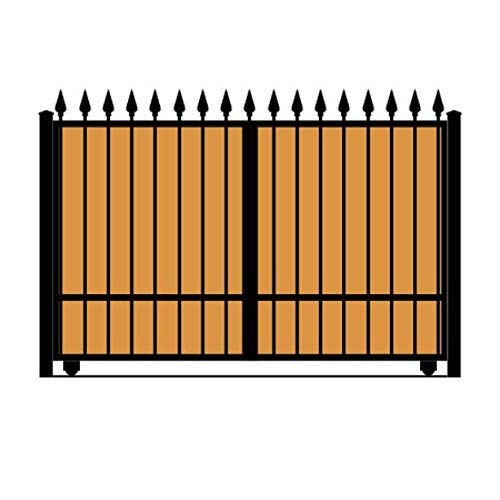 StandardGates - Wooden Wrought Iron Driveway Gate Kit - 10 ft 0 in, Solo Slide, Single Pickets, Vertical Ironwood, Finials