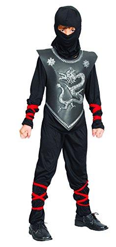 Rire Et Confetti - Fibnin019 - Déguisement pour Enfant - Costume Petit Ninja Dragon Noir - Garçon - Taille M