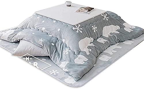 Djrh Edredón de mesa de estufa japonesa, mesa de tatami kotatsu con calentador y mesa de café tatami de tatami, conjunto de futones japoneses, con calentador, edredón, salsa de alfombra suave calentad