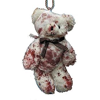 Scwopeuer Cool Punk Bloody Plush Bear Keychain Halloween Injured Animal Bear Doll Key Ring